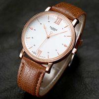 Yazole Men's Luxury Golden Brown Leather Quartz Watch Fashion Business Waterproof Vintage Design Convex Case Male Clock