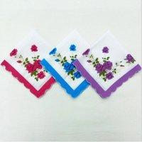Mendil Renkler Crescent Baskılı Mendil Pamuk Çiçek Hankie Çiçek Işlemeli Mendil Renkli Cep Havlu ZZE5015