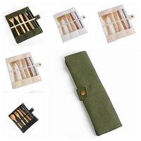 Ensemble de vaisselle en bois Bamboo Teaspoon Fork Couteau à soupe Couteau Couvertures Couvertures Ensembles avec sac en tissu Outils de cuisine Ustensil ZWL174