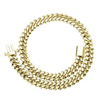 10mm 12mm 18 22inch Gold Silver Plated Bling CZ Cuban Chain Necklace Bracelet Links Rapper Street Jewelry for Men Women