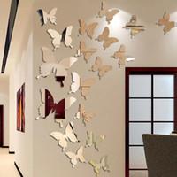12 unids / lote 3D Butterfly Mirror Etiqueta de la pared Calcomanía de la pared Arte de la pared Decoración de la boda Decoración de los niños Pegatina de decoración
