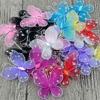 200Pcs 3cm Net Yarn 3D Butterfly Girl Rooms Kitchen Fridge Wall Stickers Wedding Home Decoration Christmas DIY Craft Party