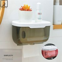 Toilet Paper Holders Roll Holder With Tray Transparent Bathroom Tissue Box Wall Mounted Storage Rack Waterproof Shelf Home WC Organizer