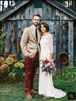 2021 Robe de mariage white lace mermaid wedding dress 3 4 sleeve scoop neckline floor length modest bridal gowns summer beach elegant reception bride dresses