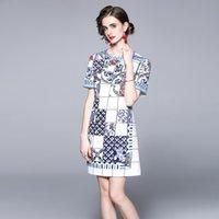 Boutique Girl платье с коротким рукавом темперамент женские печатные платья мода вскользь леди платье платья вечеринки