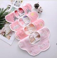 Baby Towel Bib Newborn Petal Bib Pure Cotton 6 Layer Gauze Cartoon Printing Infant Bibs Baby 360 Degree Spinning Cotton Towel FWD10662