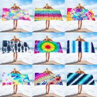 Material de toalla de playa de 150 * 75 cm Material de toalla de playa cuadrada de microfibra serie de tinte para adulto