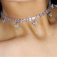 Роскошные женские ожерелье бабочка золото и серебро животных кулон ледяное ожерелье мода сияющий воротник ювелирных изделий подарок девушки 447 T2