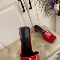 2021 Yaz Moda kadın Deri Tasarımcı Terlik Elastik Sandalet Klasik Parti Düğün Altın Rahat Yüksek Topuklu 6 cm 35-42