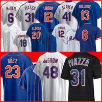 جديد 23 Javier Baez York 48 Jacob Degrom Mets Baseball Jerseys 20 Pete Alonso 12 Francisco Lindor 18 Darryl Strawberry 17 Keith Hernandez 52 Yoenis SeSpedes Piazza