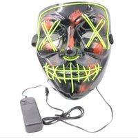 Masque Halloween LED Lumière Up Parti masque l'année électorale de purge Grandes masques drôles Festival Cosplay Costudio Fournitures Glow in Dark 493 R2