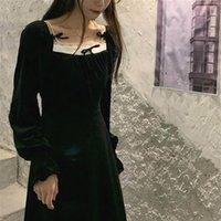Casual Dresses Velvet Black Dress Women Fashion Square Collor Long Sleeve Bow One Piece Korean 2021 Spring Party Elegant Female