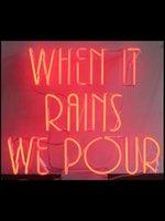النيون تسجيل الدخول عندما تمطر نحن صب أنبوب تجاري سعيد مصباح مريم الفنية ضوء الإعلان مخصص الوردي تأثير جذب الضوء