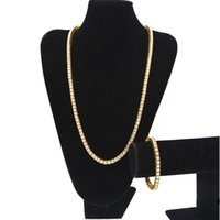 Jewelry sets Iced Out Chains Men's 1 Row Bling Bling White Black Rhinestone Tennis Long Necklaces Bangle bracelet For Rapper Jewelry wjl2341