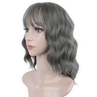 Real Hair Grey Humain парик с челкой короткие бобы волнистые серебристый серый для женщин натуральный человек 14 дюймов 150%