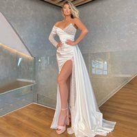 One Shoulder Long Sleeves Mermaid Formal Evening Dresses with High Split Court Train Beaded Sequined Satin Prom Gowns