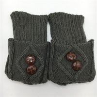 Women Winter Knitting Leg Scaldatori Doppio bottone Decorazione Boot Shoot Shoe Sock Cover Fashion Rhombus Gamba corta Manica Polychromatic 5 5YF G2