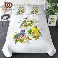 Bedding Sets BeddingOutlet Bird Set Butterfly Duvet Cover Flower Bedclothes Floral Bedspread 3d Archaic Branches Home Decorations