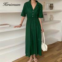 Hirsionsan Polo Collar Solid Women Dresses Summer French Vintage Soft Loose Dress Chic Elegant Female Midi Dress Elastic Waist 210603