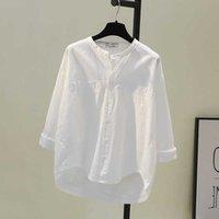 Spring Korea Fashion Women Shirts Plus Size Long Sleeve Loose White Shirt All-matched Casual Tops Cotton Female Blouse D124 210608