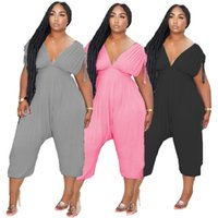 women yoga Jumpsuits Rompers v-neck Pleated sports loose jumpsuit one-piece womens Leisure fashion fitness sweatpants ladies night club design clothes
