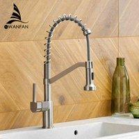 Torneiras da cozinha Wanfan moderno polido preto bronze pia faucet pull single handle swivel bico spoul spoul mixer tap 9013sn fahn