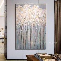 Mintura peinture à l'huile à la main à la main sur toile Moderne Paysage Or Abstrait Arbre Arbre Art Art Pour salon Décoration de la maison Grandes peintures