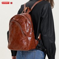 Fashion Retro Leather Women Backpack Soft Casual Ladies Student School Backpacks Travel Bag Cowhide Style