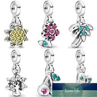 My Pretty Flower Nature Cherry Lovely Cactus Palm Tree Summer Sun Pendant Bead 925 Sterling Silver Me Charm Fit Bracelet Jewelry Factory price expert design Quality