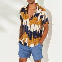 Nueva moda para hombre hawaiano verano de manga corta camisa de la raya de la camisa colorida del botón de la camisa de la camisa del ajuste regular casual Campamento de playa