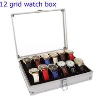 Часы ящики Case 6/12 Сетки сетки полезные ювелирные наручные часы Держатель Дисплей хранения коробки алюминиевый роскошный квадратный чехол Организатор 3406 Q2