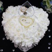Свадебная церемония слоновой кости Атлас кристалл кольцевая подушка подушка подушка