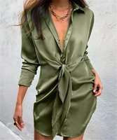 Casual Dresses Lace Up Cross-border Women's Turn Down Collar Shirts Dress Vestidos Solid Color Irregular V-neck Pleated Cross Tie Blouses