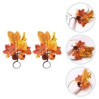 Anéis de guardanapo 2 pcs Práticos Anel de Ação de Graças Decorativos Clasps