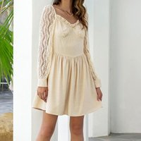 Casual Dresses Fashion Party Dress France Style Lace Long Sleeve Women Sexy Elegant Ladies Solid Colors Ruffles Mini Vestidos#G3