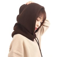 Women Cashmere Knit Hooded Scarf Caps Solid Color Wool Knitting With Hats Ladies Winter Warm Female Beanies Scarves