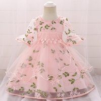 Girl's Dresses Elegant Floral Baby Girl Dress Princess Bridesmaid Pageant Gown Birthday Party Wedding Puff Sleeve Sweet Ruffle