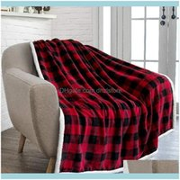 Blankets Textiles Home & Garden Style Red Black Plaid Winter Thickening Household Flannel Christmas Woolen Blanket 150*200 Drop Delivery 202