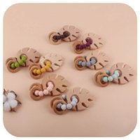 Baby Rattle Silicone Beads Teethers DIY Children's Toys Beech Wooden Charm Newborn Nursing Teething Toy