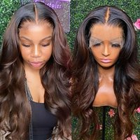 Ombre Brown 360Lace Frontal Wigs Brazilian Wavy Lace Front Human Hair Wig 1B 30 Closure Wigss For Women full LaceWigs180% Pre Plucked