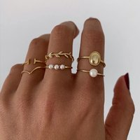 Gold Color Round Geometric Finger Band Rings Set for Women Classic Circle Open Joint Ring Female Jewelry