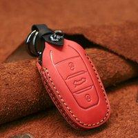 Anahtarlıklar Dandkey Hakiki Deri Akıllı Araba Uzaktan Anahtar Kılıf Çanta Peugeot 408 4008 Için 5008 308s Citroen C4 Picasso Kapak Koruyucu