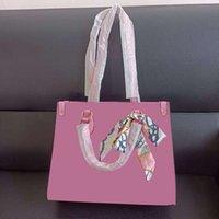 حقيبة الكتف 2021 حقيبة يد فاخرة متعددة الألوان 32 سم + 25 سنتيمتر مع وشاح الحرير أزياء عالية الجودة بو حقيبة حمل