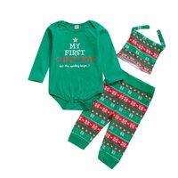 Grüne Weihnachten Kinder Kleidung Anzug Santa Claus Druck Baby Langarm Overall Hosen Hut Kleinkind Jungen Mädchen Kleidung 3 Stück / Satz 30YD G2