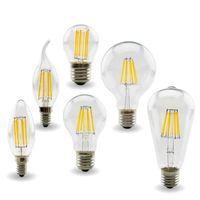 LED 필라멘트 Dimmable C35 촛불 전구 2W 4W 6W E14 전구 빛 110V 220V 투명 유리 크리스탈 샹들리에 펜던트 바닥 조명 에디슨 램프