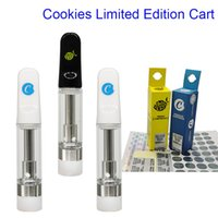 Vape Cart Cookies Limited Edition Cartridge Empty Oil Atomizer 0.8ml 1.0ml Glass Tanks Vaporizer 510 Ecigs Ceramic Coil Carts with Childproof Tube and Sticker