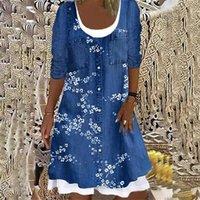 Casual Dresses Elegant Digital Print Fake Two-piece Denim Long-sleeved Dress Women Autumn Winter Loose Vintage Fashion