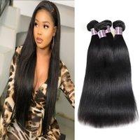 2021 3 Pcs Brazilian Human Hair Bundles Wefts 8-28inch Loose Deep Curly Yaki Straight Body Water Wave for Women Jet Black Indian Peruvian Ma