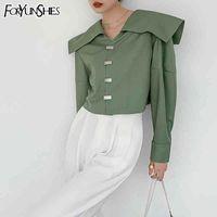 Foryunshes Kadınlar Neo Nane Yeşil Kısa Gömlek Kadın Sailor Yaka Fener Kollu Tiki Tarzı Bluz Sonbahar Bahar 210523