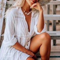 Casual Dresses Ordifree 2021 Summer Women Loose Mini Dress White Lace Crochet Sexy Short Tunic Beach